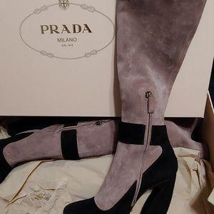 Prada knee high suede heeled boots